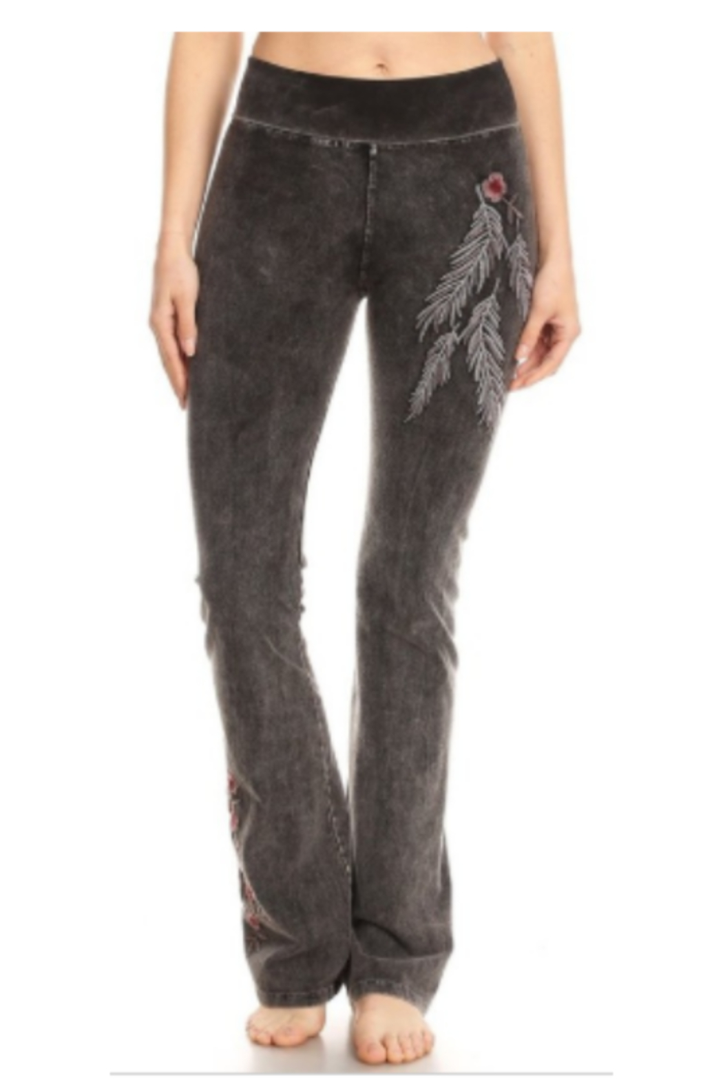 DiJore Feather and Floral Embroidered Yoga Pants - Main Image