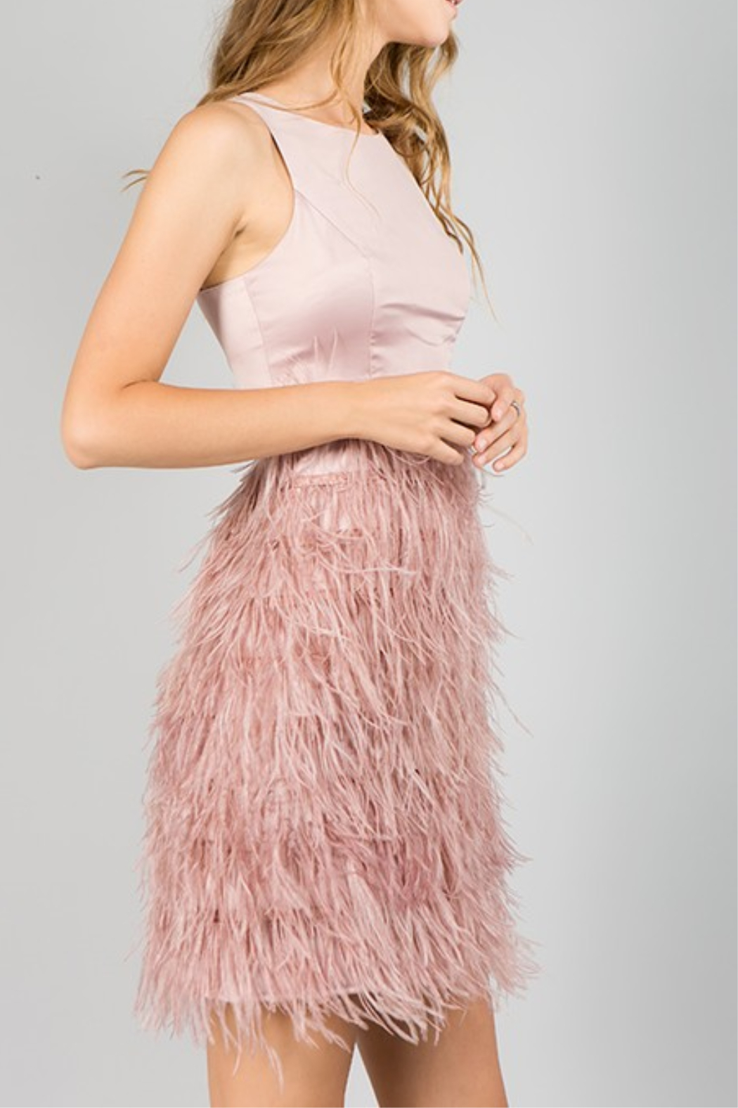 Minuet Feather Bottom Dress - Side Cropped Image
