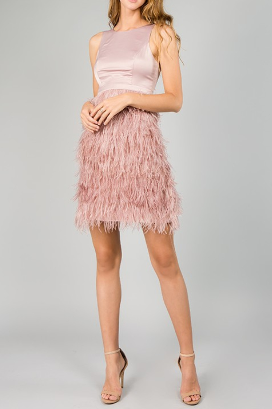 Minuet Feather Bottom Dress - Back Cropped Image