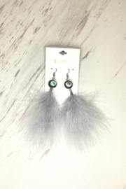 Two's Company Feather Earrings W Stone - Front cropped