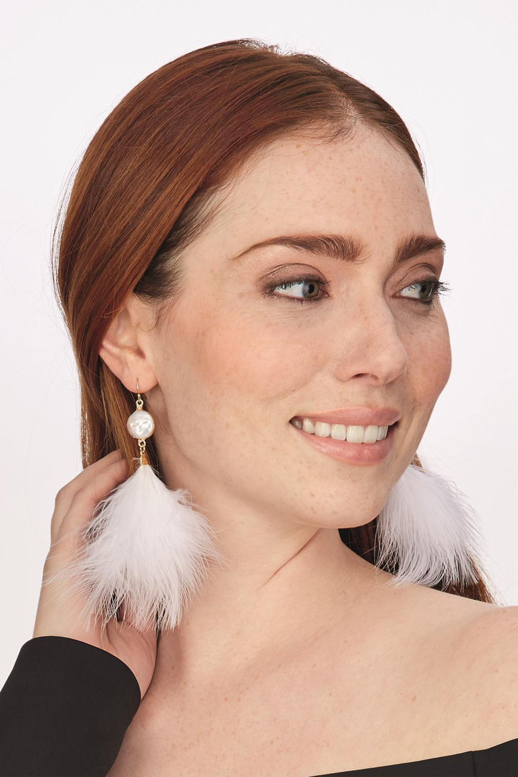 Two's Company Feather Earrings W Stone - Main Image