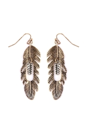 Riah Fashion Feather-Etched Hook Earring - Product Mini Image