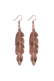 Riah Fashion Feather-Etched Metal-Drop Earring - Product Mini Image