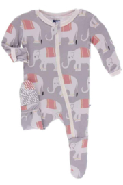 Kickee Pants Feather Indian Elephant Print Footie - Product Mini Image