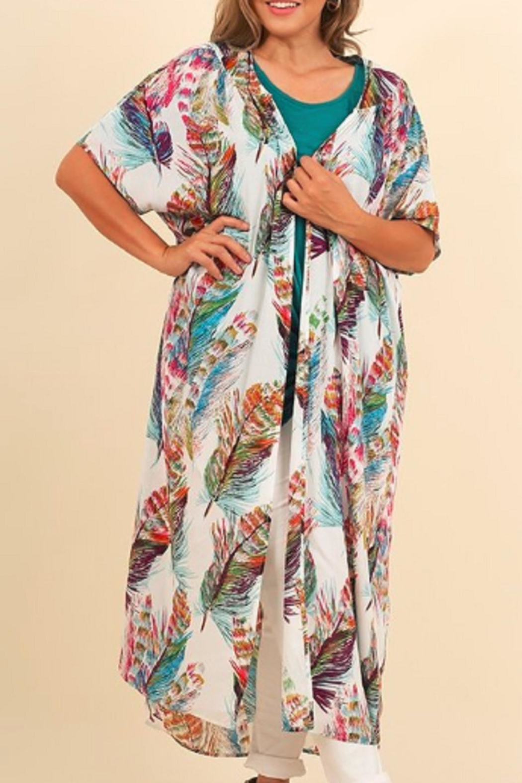 Umgee USA Feather Kimono - Front Cropped Image