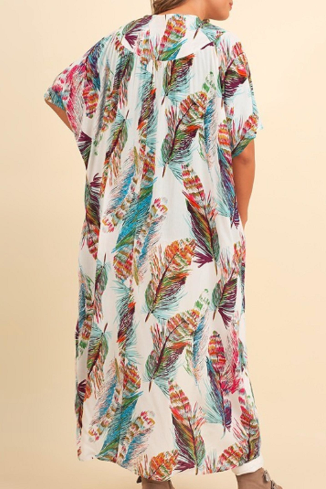 Umgee USA Feather Kimono - Side Cropped Image