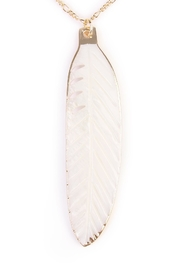 Riah Fashion Feather Pendant Necklace - Front full body