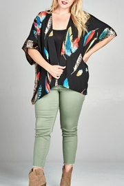 Oddi Feather Print Kimono - Product Mini Image