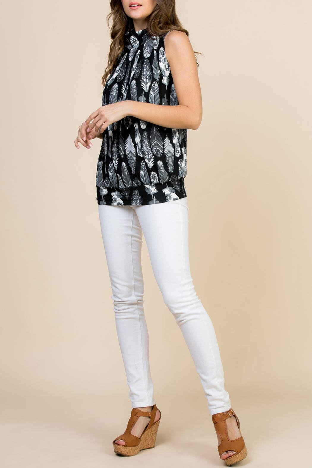 Riah Fashion Feather-Print-Mock-Neck Pleated-Sleeveless-Top - Front Full Image