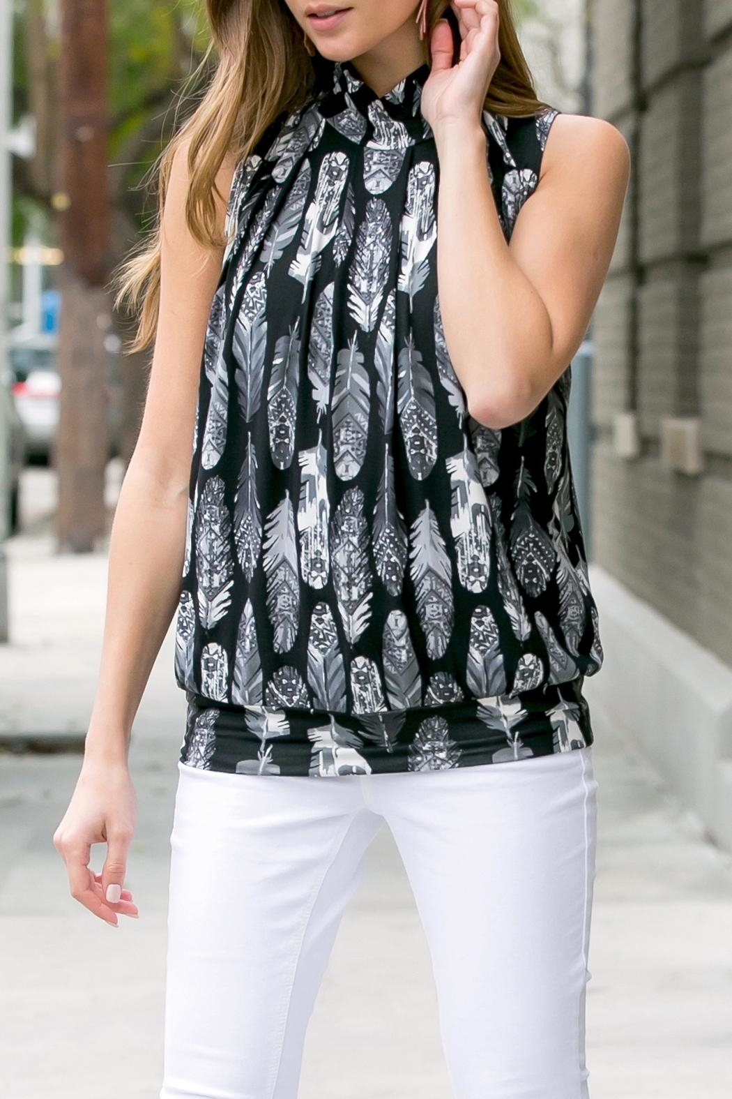 Riah Fashion Feather-Print-Mock-Neck Pleated-Sleeveless-Top - Back Cropped Image