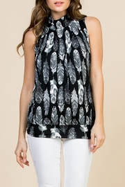Riah Fashion Feather-Print-Mock-Neck Pleated-Sleeveless-Top - Product Mini Image