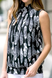 Riah Fashion Feather-Print-Mock-Neck Pleated-Sleeveless-Top - Other