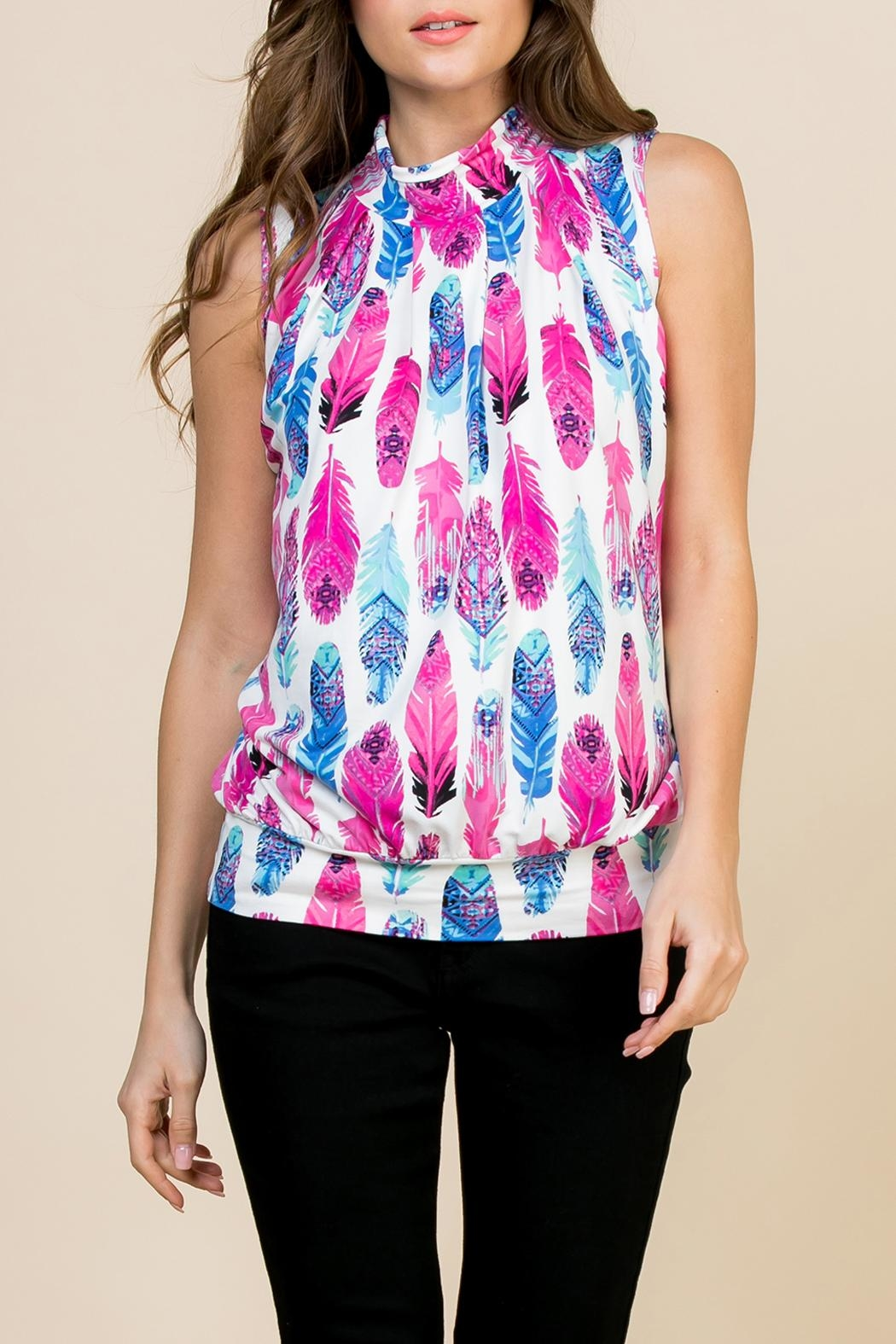 Riah Fashion Feather-Print-Mock-Neck Pleated-Sleeveless-Top - Front Cropped Image