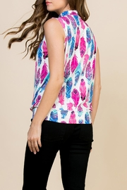 Riah Fashion Feather-Print-Mock-Neck Pleated-Sleeveless-Top - Front full body