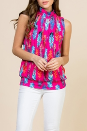 Riah Fashion Feather-Print-Mock-Neck Pleated-Sleeveless-Top - Front cropped