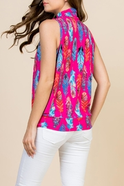 Riah Fashion Feather-Print-Mock-Neck Pleated-Sleeveless-Top - Side cropped