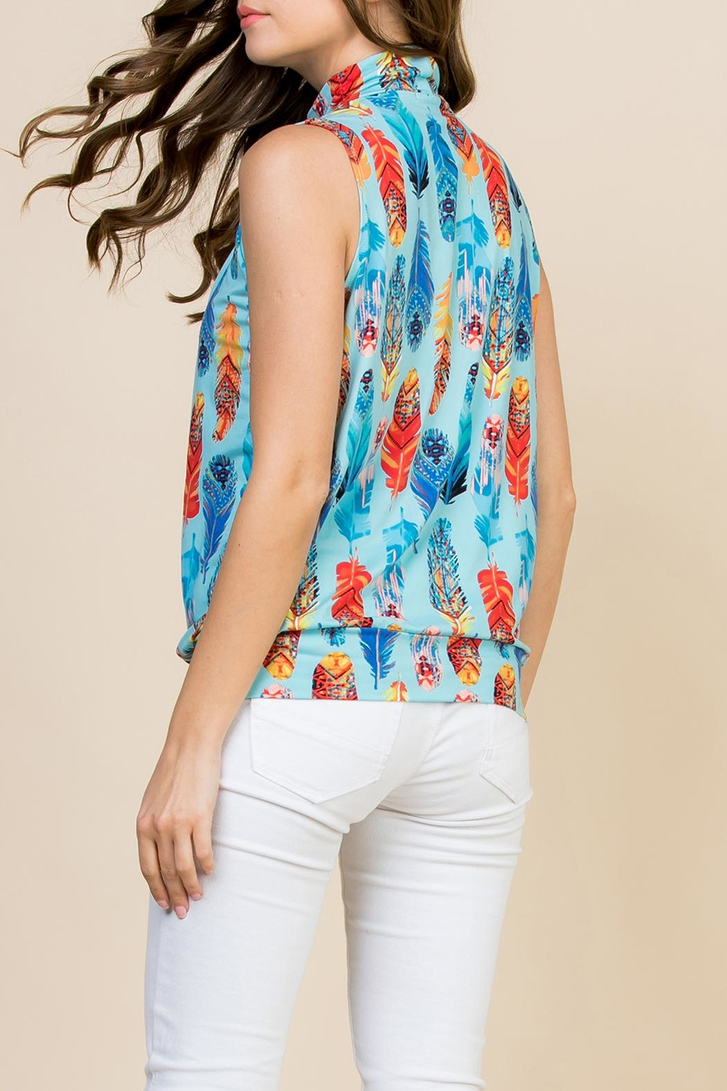 Riah Fashion Feather-Print-Mock-Neck Pleated-Sleeveless-Top - Side Cropped Image