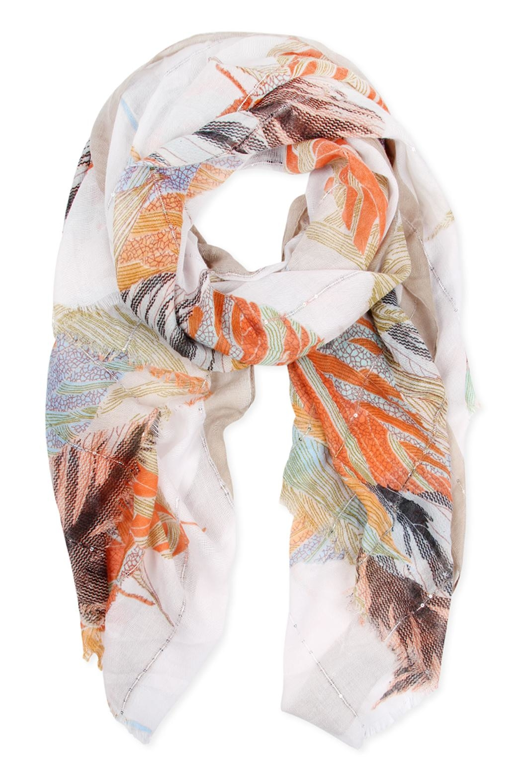 Riah Fashion Feather Printed Scarf - Front Cropped Image