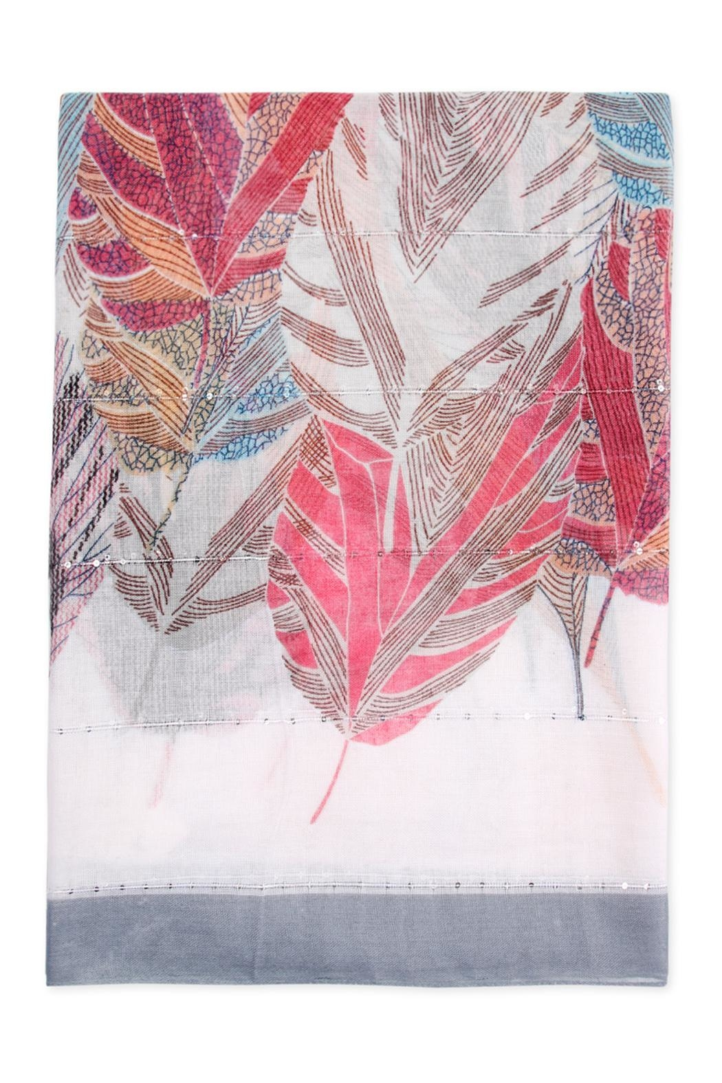 Riah Fashion Feather Printed Scarf - Front Full Image