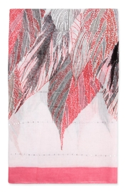 Riah Fashion Feather Printed Scarf - Front full body