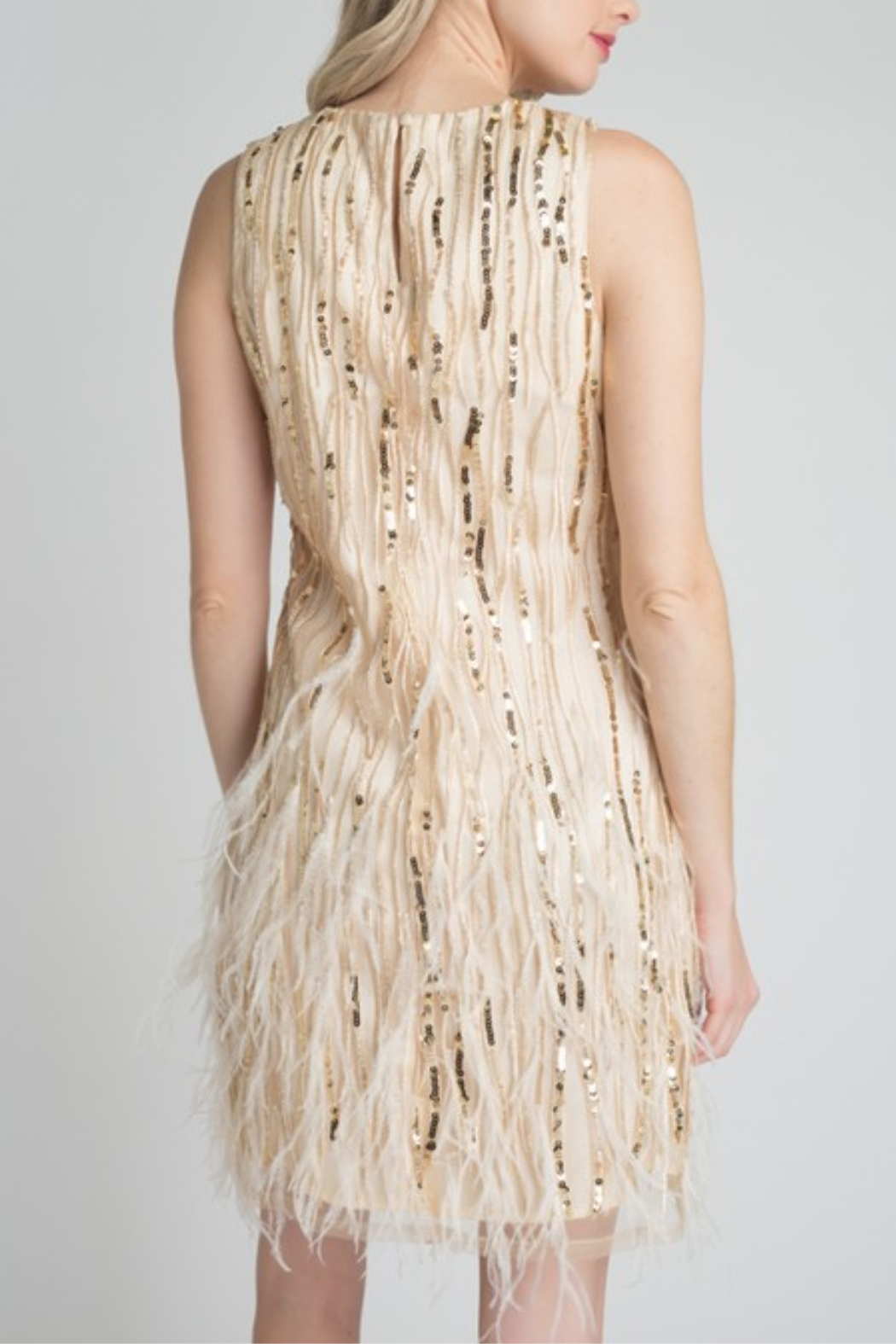 Minuet Feather & Sequin Dress - Side Cropped Image
