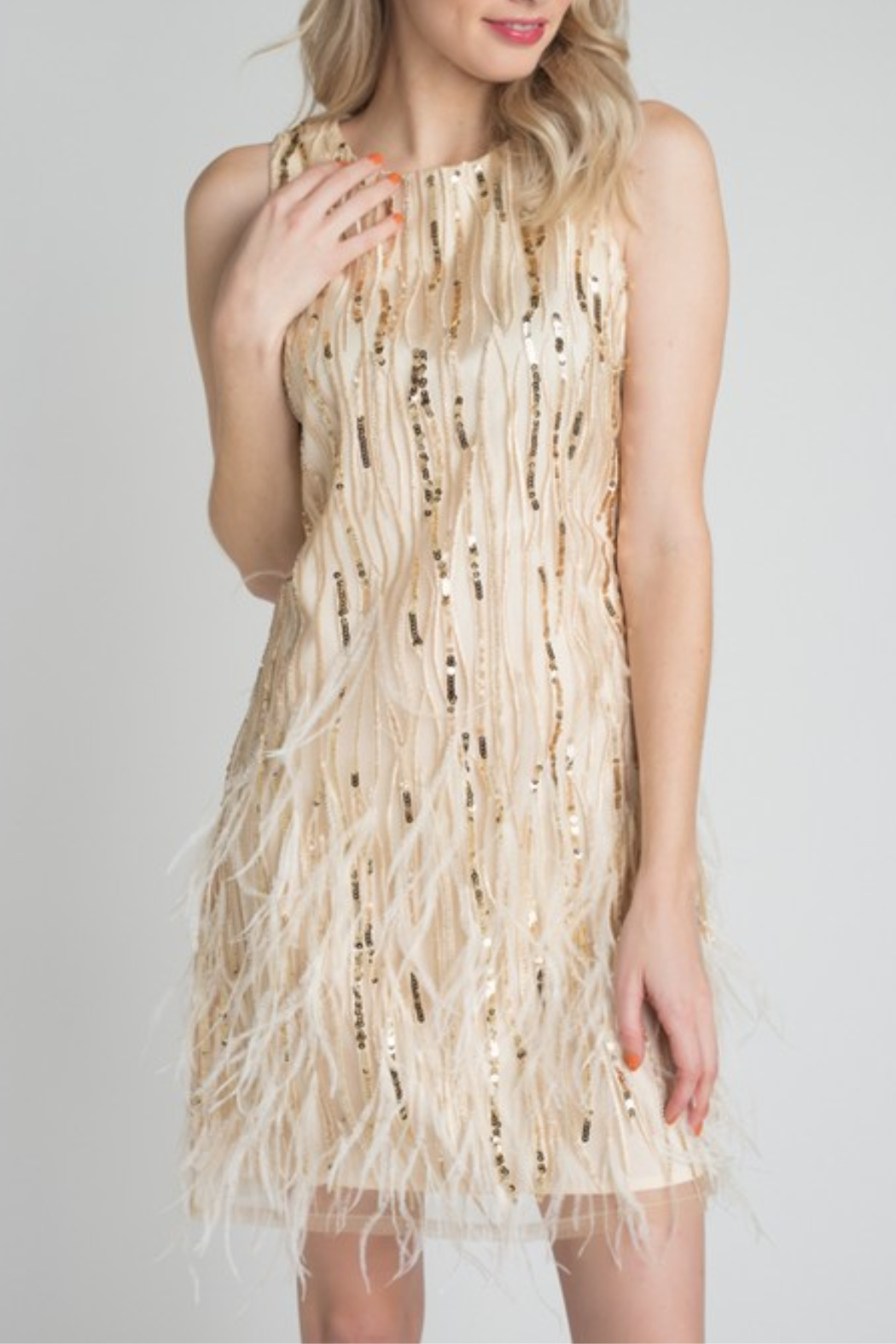 Minuet Feather & Sequin Dress - Front Full Image