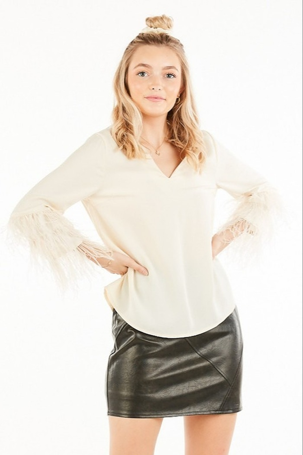 Very J Feather Sleeve Blouse - Main Image