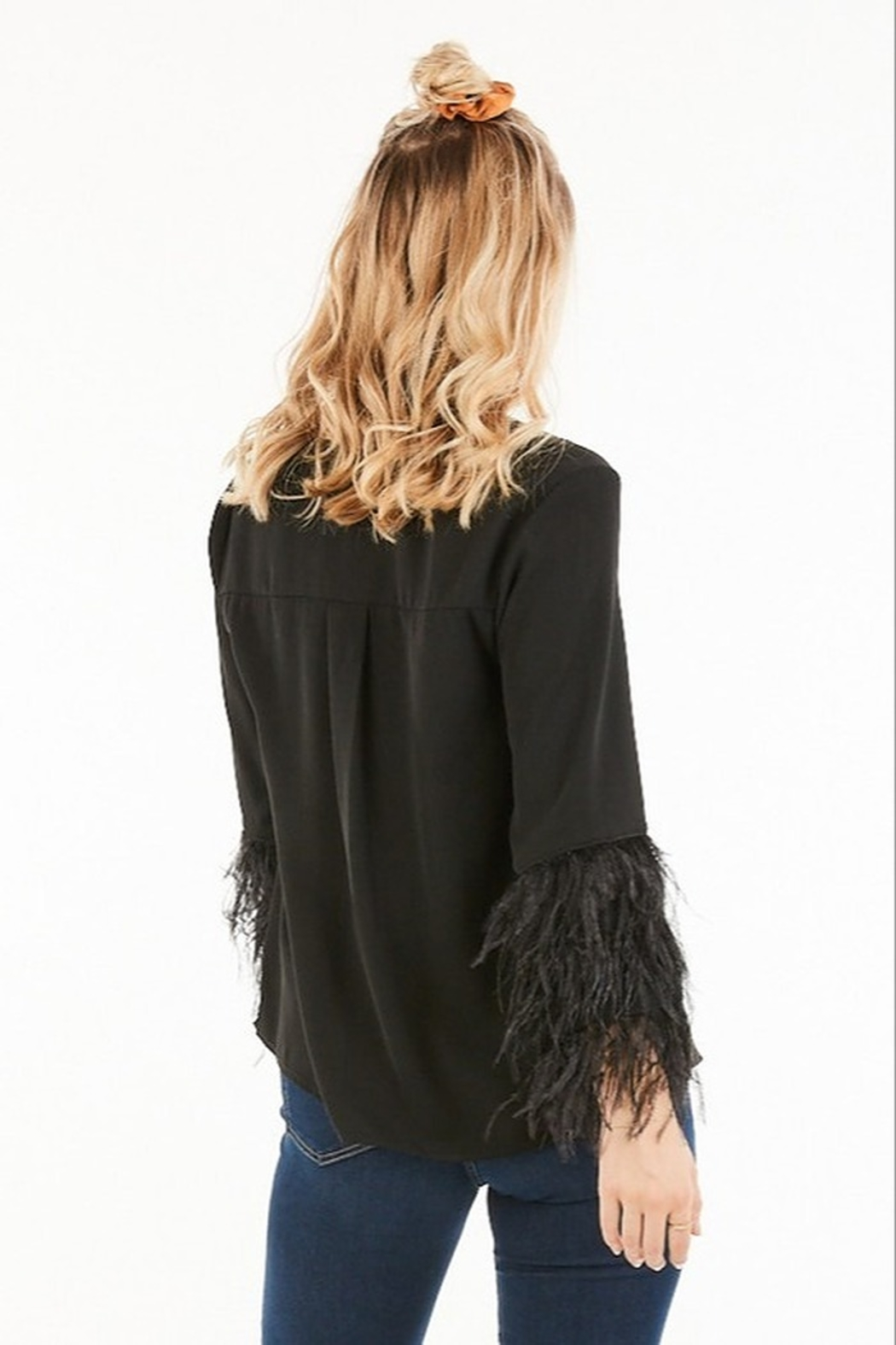 Very J Feather Sleeve Blouse - Front Full Image