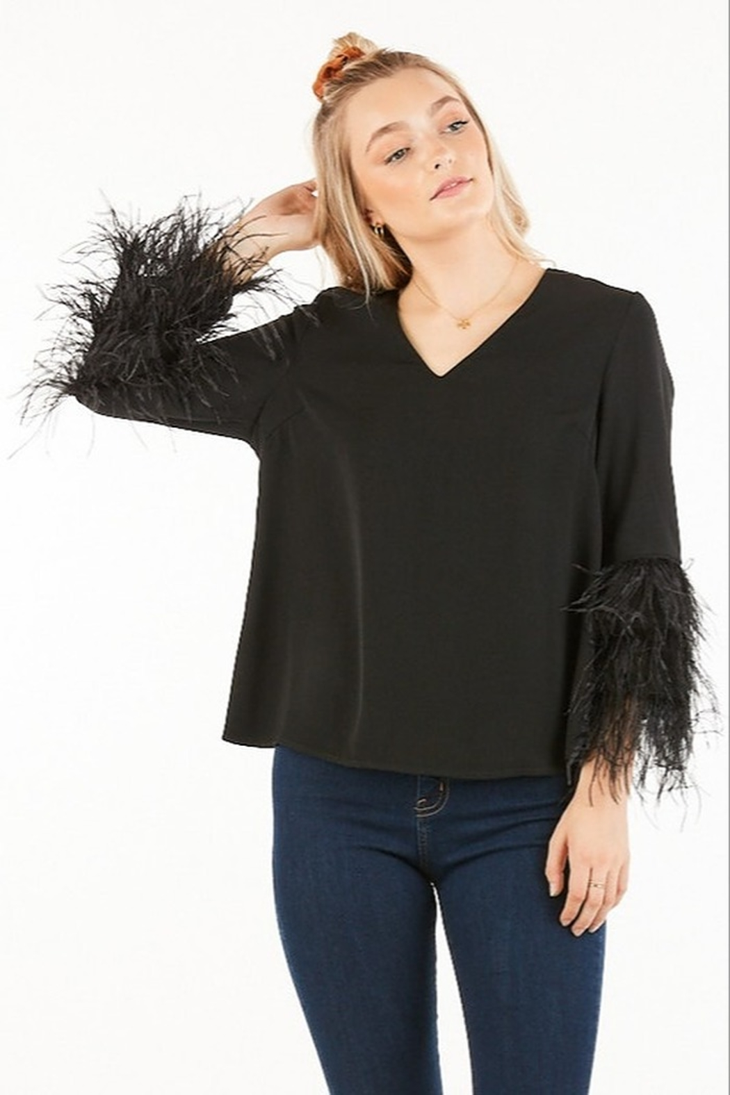 Very J Feather Sleeve Blouse - Front Cropped Image