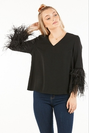 Very J Feather Sleeve Blouse - Front cropped