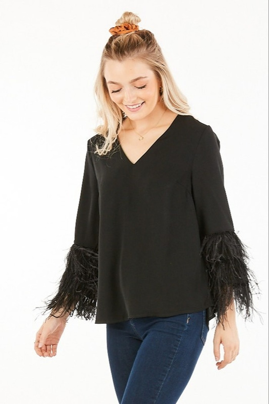 Very J Feather Sleeve Blouse - Side Cropped Image