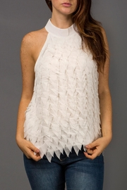 WREN & WILLA Feathered High-Neck Blouse - Product Mini Image