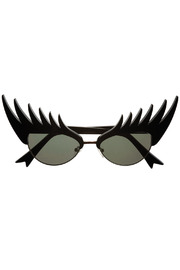 Shoptiques Product: Black Eyelashes Sunglasses - Front cropped