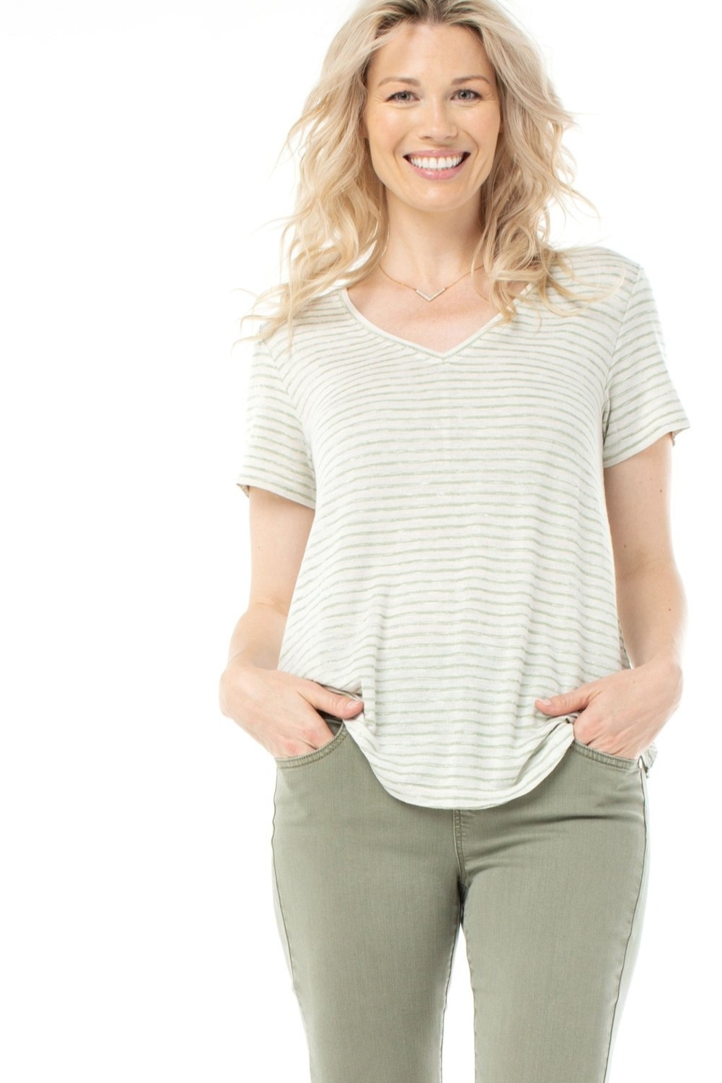 Liverpool Feel good v neck striped tee - Front Cropped Image