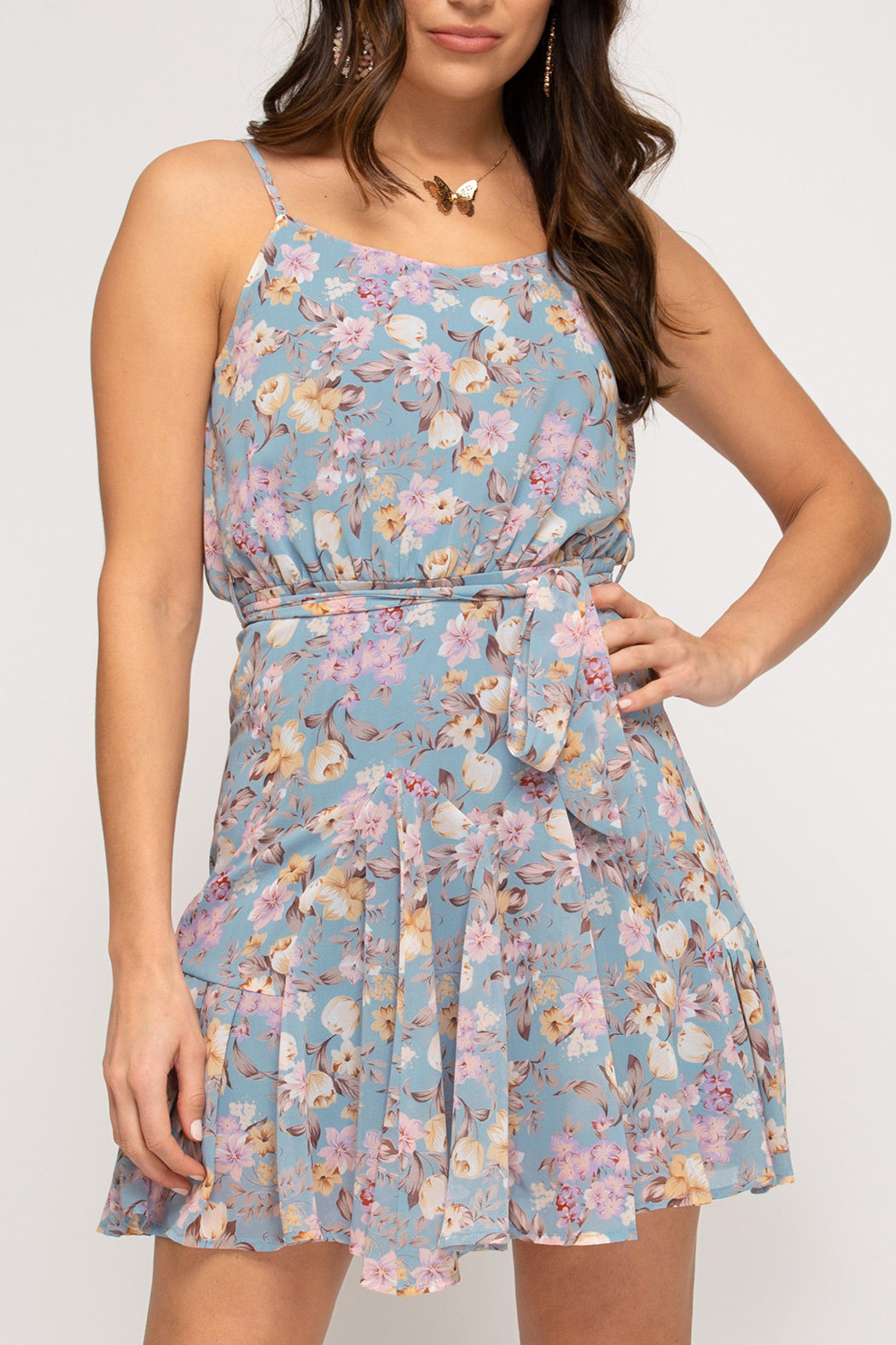 She and Sky Feeling Flirty in Floral dress - Main Image