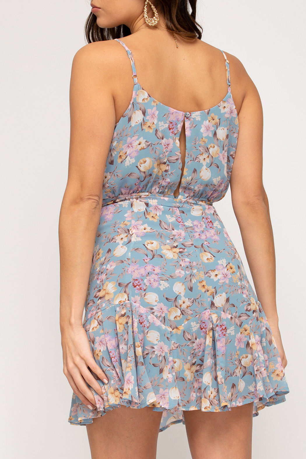 She and Sky Feeling Flirty in Floral dress - Front Full Image