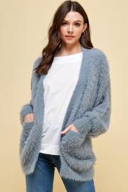 Pinch Feeling Fuzzy Open Cardigan - Front cropped