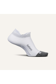 Feetures Elite Ultra Light No Show Tab Sock in White - Front cropped