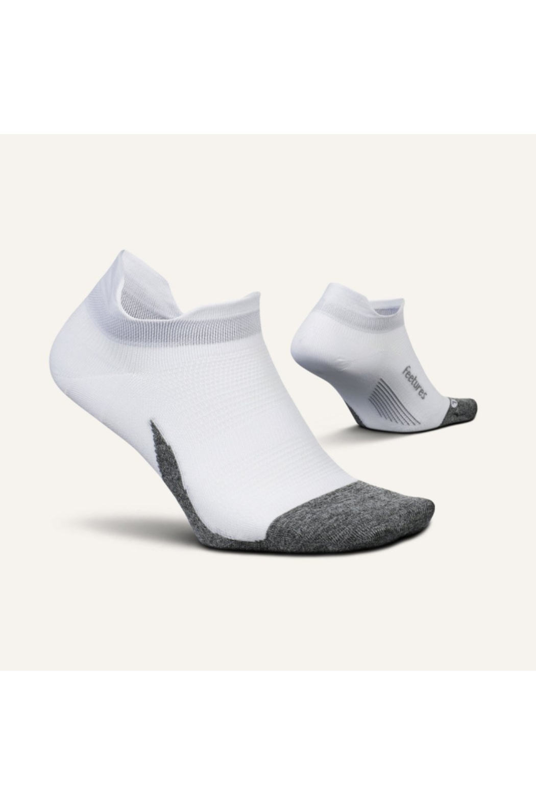 Feetures Elite Ultra Light No Show Tab Sock in White - Front Full Image