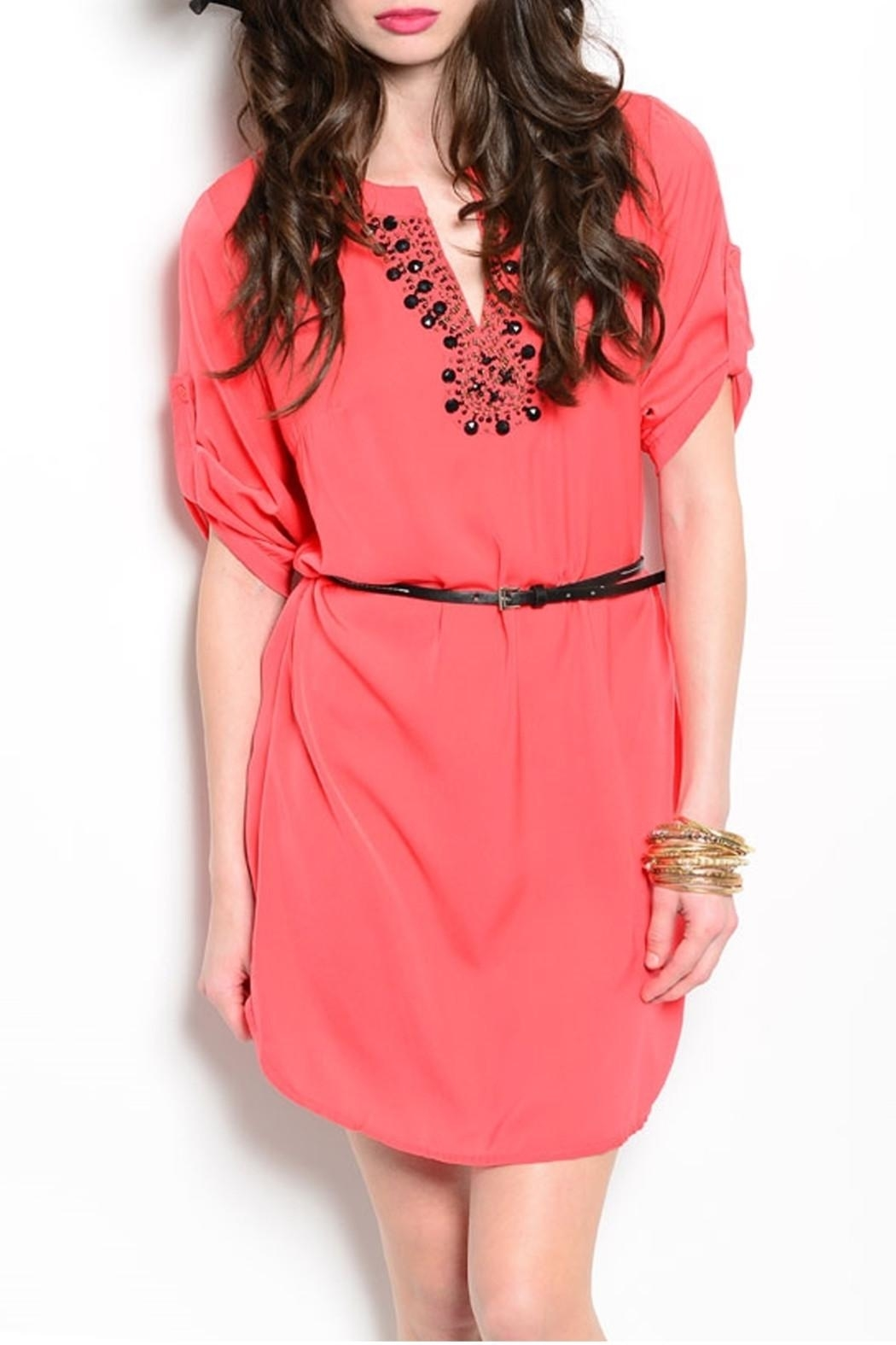 Feline Coral Tunic Dress - Front Cropped Image