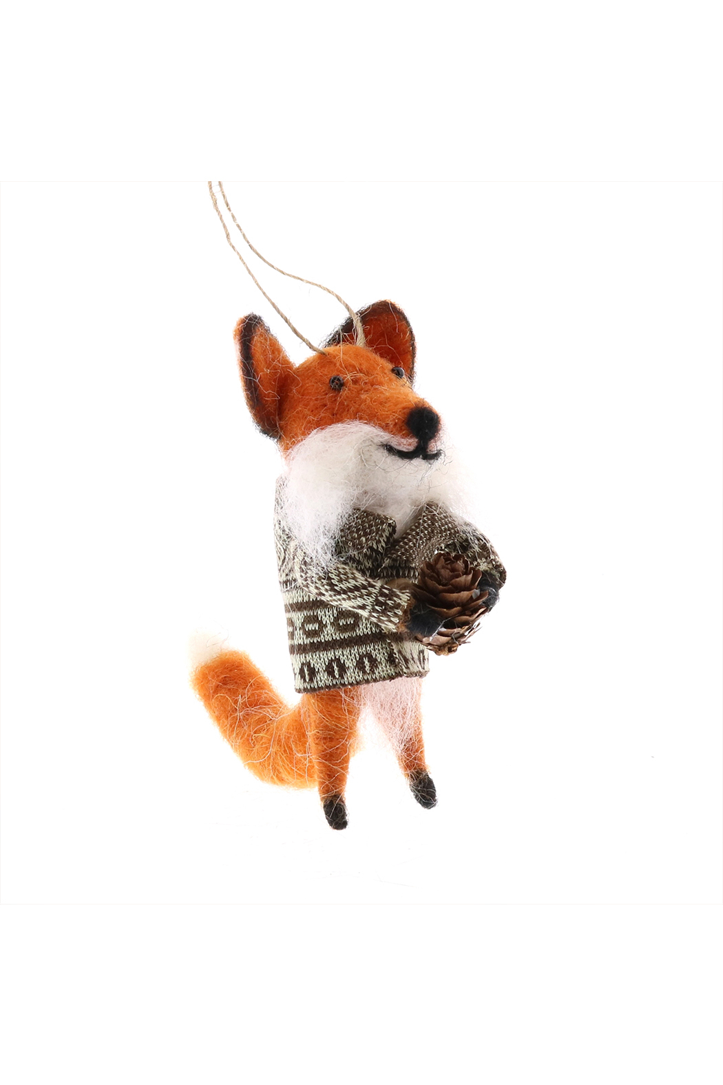 Homart Felt Fox With Bundle Ornament - Front Cropped Image