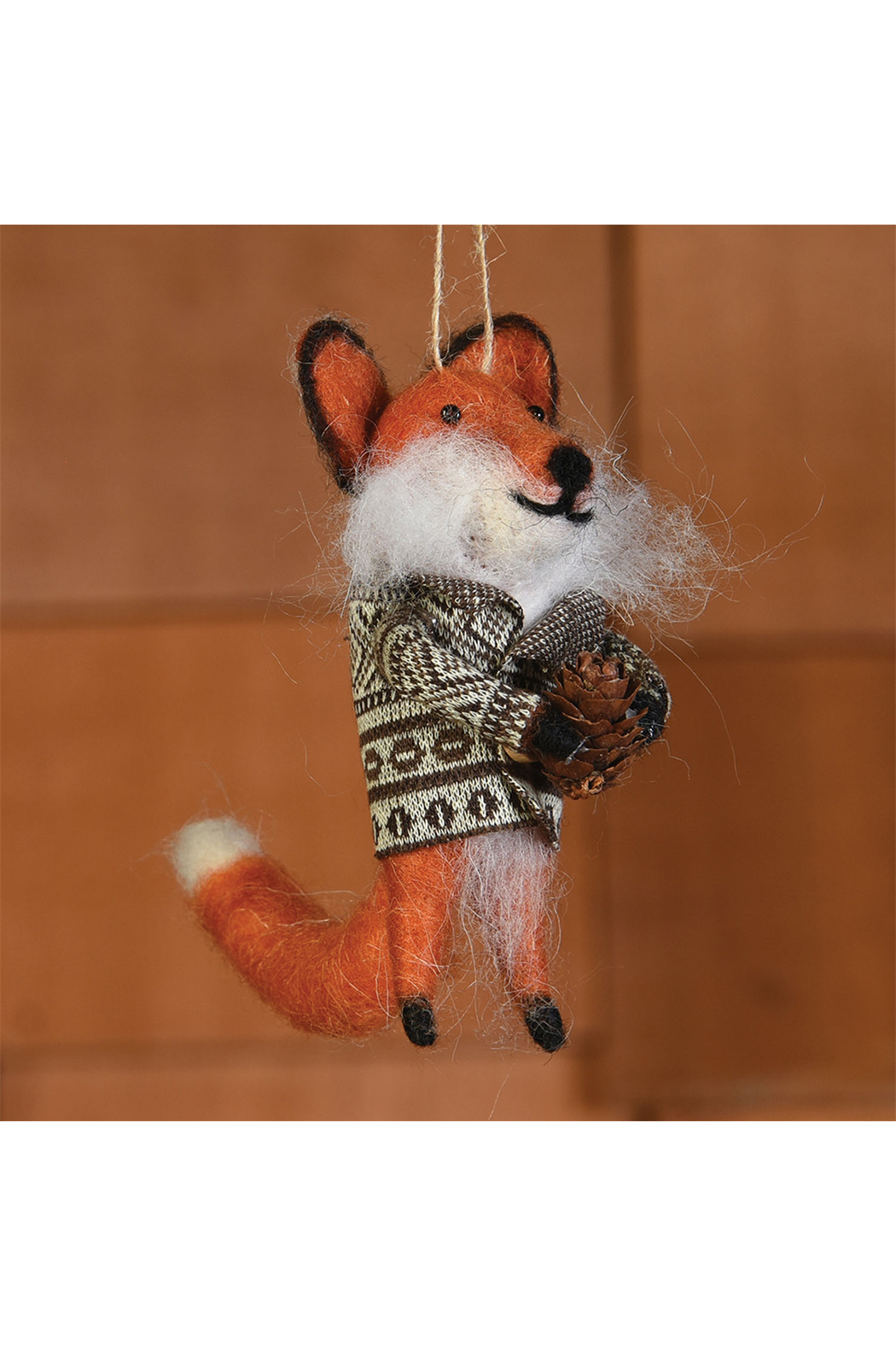 Homart Felt Fox With Bundle Ornament - Front Full Image