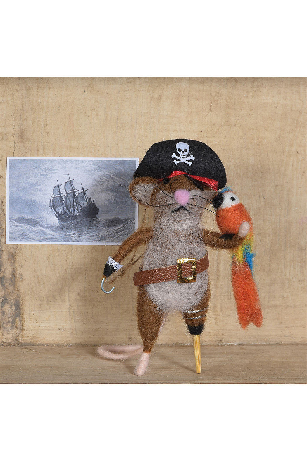 Homart Felt Pirate Mouse Ornament - Front Full Image