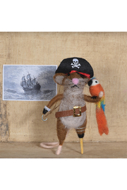 Homart Felt Pirate Mouse Ornament - Front full body