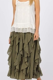 Apparel Love RUFFLED LONG OLIVE SKIRT - Product Mini Image