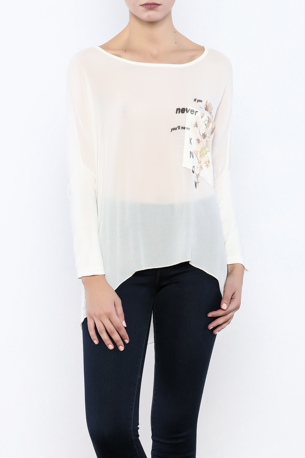 Femme Fatale Printed Pocket Cream Top - Main Image