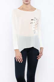 Femme Fatale Printed Pocket Cream Top - Front cropped