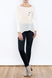 Femme Fatale Printed Pocket Cream Top - Front full body