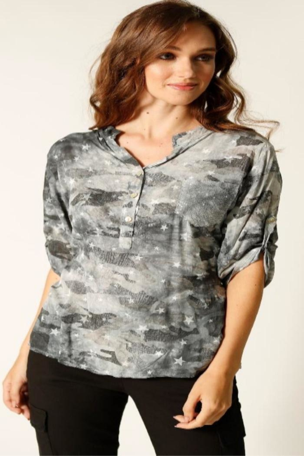 Femme Fatale Camo Star Blouse - Front Cropped Image