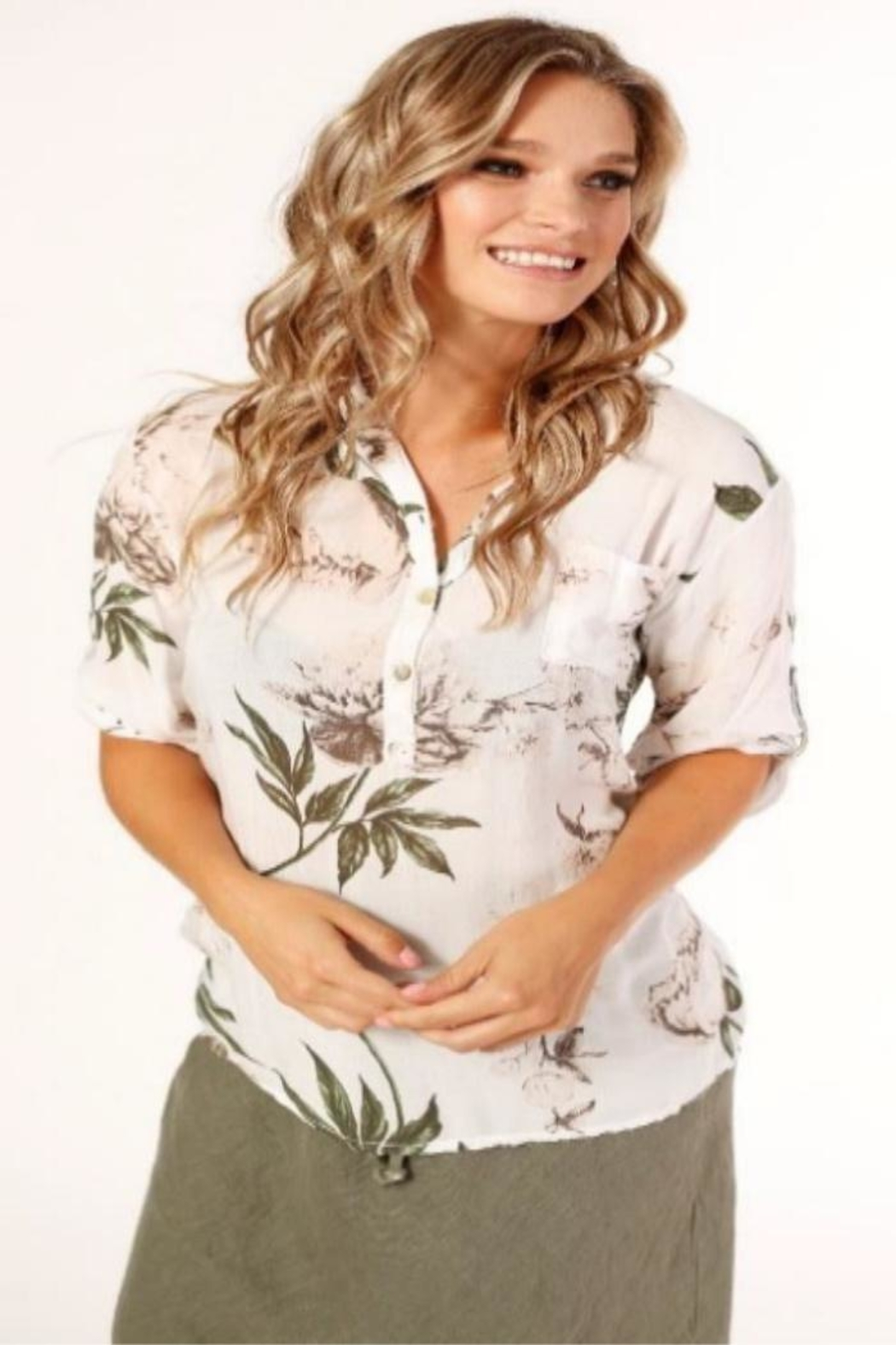 Femme Fatale Flower Print Blouse - Front Cropped Image